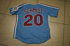 NWT!! Mike Schmidt Blue Zip-up Philadelphia Phillies Baseball Jersey Men's Large