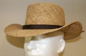 "Stetson Mens Straw Hat Size S/M Light Brown Casual Hiking Field 3"" Brim VGC"