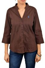 Polo Ralph Lauren Brown Striped Stretch Fit 3/4 Sleeve Ladies Shirt M Good