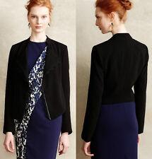 ANTHROPOLOGIE NWT Dimmet Drape Topper Jacket Blazer Lace Trim Black Sz M $128