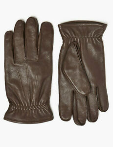 M&S Brown Leather Gloves Mens UK Size Small & Large New Tags £35