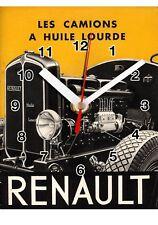 Publicité, Vintage, RENAULT Camion Huile lourde en Horloge murale -01hm
