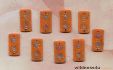 Orange VINTAGE PAINTED GLASS FLOWER BEADS  JAPAN CHARMS 2 HOLE SEW ON BUTTONS