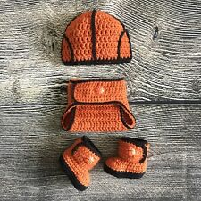Newborn Baby Boy Basketball Hat Diaper Cover Booties Crochet Photo Prop Outfits