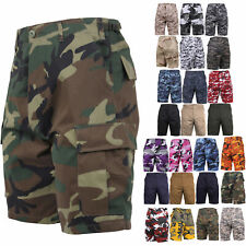 Army Cargo BDU Combat Shorts Button Fly Camouflage & Solid Military Rothco