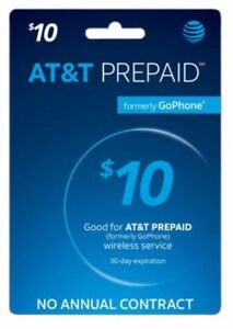 AT&T - AT&T Prepaid $10 Refill Top-Up Prepaid Card , AIR TIME  PIN / RECHARGE