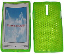 For Sony Xperia S LT26i LT26 Pattern Soft Gel Case Protector Cover Green New UK