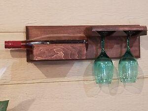 WINE BOTTLE AND GLASS STORAGE HOLDER DISPLAY RACK WALL MOUNTED FLOATING SHELF