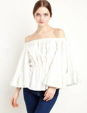 C/MEO Collective Shirt White Pearls Off the Shoulders Star Eyes Top  X-Small