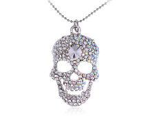Shiny Clear AB Diamante Rhinestone Skeleton Scary Skull Cute Pendant Necklace