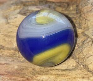 "Vtg Akro Agate Popeye Corkscrew Marble Yellow Blue A Little Over 5/8"" .68"" #3"