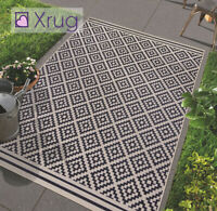 Black and Beige Rug Indoor Outdoor Garden Patio Check Carpet Water Resistant Mat
