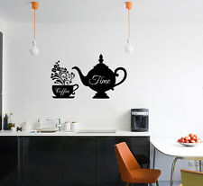 Café Time Taza Cocina Comedor Señal Tienda Logo adhesivo de pared decorativo