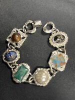 Vintage Sarah Coventry Silvertone Multi Color Stone Cabochon Link Bracelet