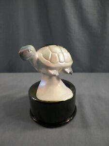 Fenton Mosser Amethyst & White Carnival Slag Glass Turtle on the Font Figurine