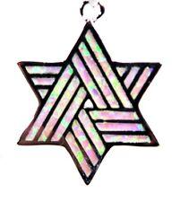 "Fire Opal Star Of David 1"" Silver 925 Sf Pendant Soft Pink Lab"