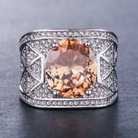 Luxury Round Cut Citrine Women 925 Silver Jewelry Wedding Ring Size 6-10