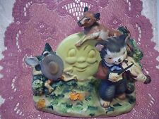 VTG Lefton Hey Diddle Diddle the Cat & the Fiddle - Signed w/ Orig. Tag Figurine