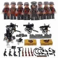 8pcs/lot DE Militär Soldaten Figuren mit WW2 Waffen Bausteine Blocks Toys Bricks