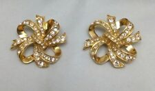 Vintage Kenneth Jay Lane KJL Avon Swarovski Crystal Gold Tone Ribbon Earrings