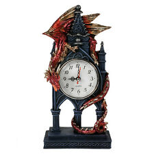 TIME GUARDIAN DRAGON CLOCK: Fantasy Dragon Mantel or Desk Clock 27.5cm