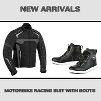 Profirst Mens Motorbike Motorcycle Textile Cordura Jacket Waterproof Racing Boot