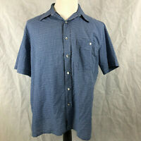 Gloweave L Mens blue check short sleeve dress shirt Made in Australia