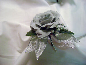 Silver~Rose Bud~Open Rose Boutonniere~corsage~Wedding~Prom~Quinceanera