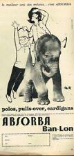 N- Publicité Advertising 1963 Les Vetements pour enfants absorba .. elephant