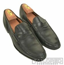 EDWARD GREEN Solid Black Leather Penny Loafer Mens Dress Shoes - UK 8 / US 9