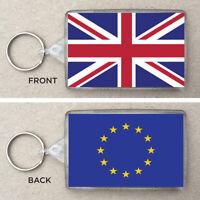 Union Jack & EU Flag Large Keyring & Bag Tag, Brexit, UK, European Union