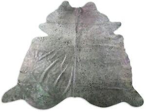 Silver Cowhide Rug HUGE Size: 8' X 7' Grey/Silver Acid Washed Hide Rug C-1203
