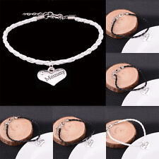 Family Heart Mom Sister Rope Leather Chain Bracelets Bangle Women Men Jewelry