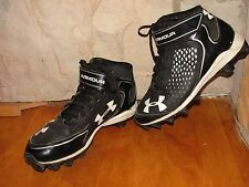 YOUTH UNDER ARMOUR FOOTBALL/BASEBALL CLEATS BLACK/WHITE SIZE 4.5Y