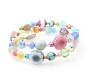 Artisan OOAK Glass Flower Bead Wrap Bracelet Pastel Pink Blue Green Yellow BNWT