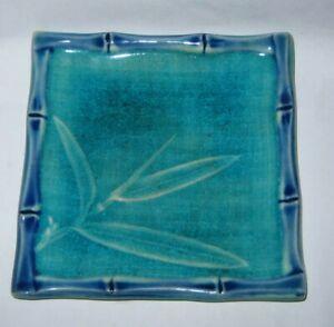 Pretty Porcelain Ceramic Bamboo Soap Dish Blue Green Crackle Finish