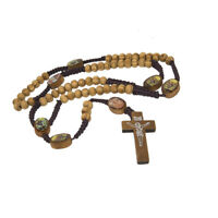 Olive Wood Rosary Beads w/ Cross Images of Saints From Jerusalem Holy Land 21""