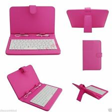 """7"""" inch Tablet Premium Leather Case USB Keyboard Cover Stand Folio -Dark Pink UK"""