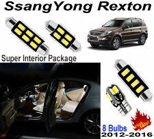 8pcs Xenon White LED Intserior Light Kit For SsangYong Rexton 2012-2016 Lamps