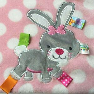 "Taggies Bunny Rabbit Blanket Pink White Polka Dots Plush Security Lovey 30""X40"""