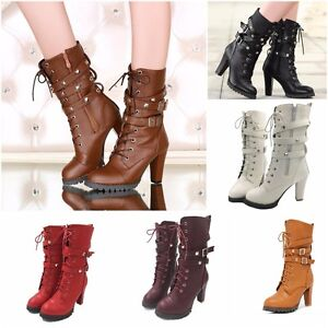 Ladies Shoes Women High Party Heel Motorbike Buckle Zipper Lace Up Leather Boots