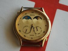 Nice Vintage SEIKO 7F18 Gold Tone Moon Phase Men's Watch -- For Parts