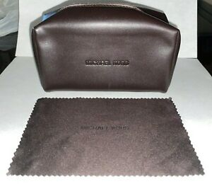 NEW MICHAEL KORS BROWN ZIP PURSE HANDBAG GLASSES SUNGLASSES CASE+CLEANINGCLOTH
