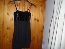 Black strappy hip length top, sequin bodice, ATMOSPHERE, size 8, see desc