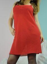 Chiffon red checkered sheer mini nightie night gown chemise sz M L