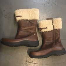 UGG EVENT Brown Leather Shearling FUR WRAP SIDE ZIP BOOTS WOMENS 6 Vibram Rubber
