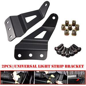 Off-road Vehicle Windshield Mounting Brackets Roof LED Light Strip Bracket Black