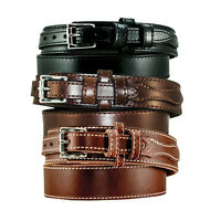 Men's Genuine Black.Brown leather Ranger style belt /5 yr warranty made in USA