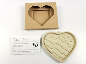 """Pampered Chef Patriotic Heart 6"""" Stoneware Mold w/Instructions"""