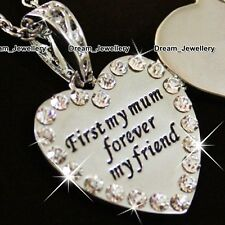 Heart Crystal Locket Necklace Pendant Mum Christmas Gift for Mother Daughter Mom
